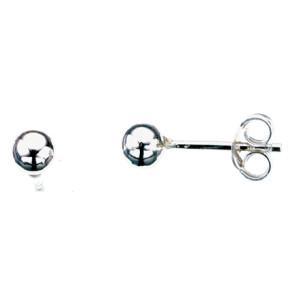 Sølv øreringe, 4mm kugle