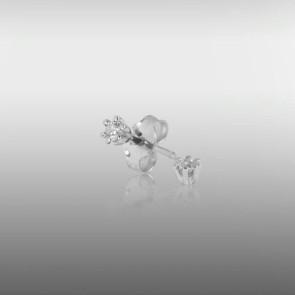 JAN JØRGENSEN - 14. KT HVIDGULD - ØRESTIKKER - BRILLANZ - 0,10